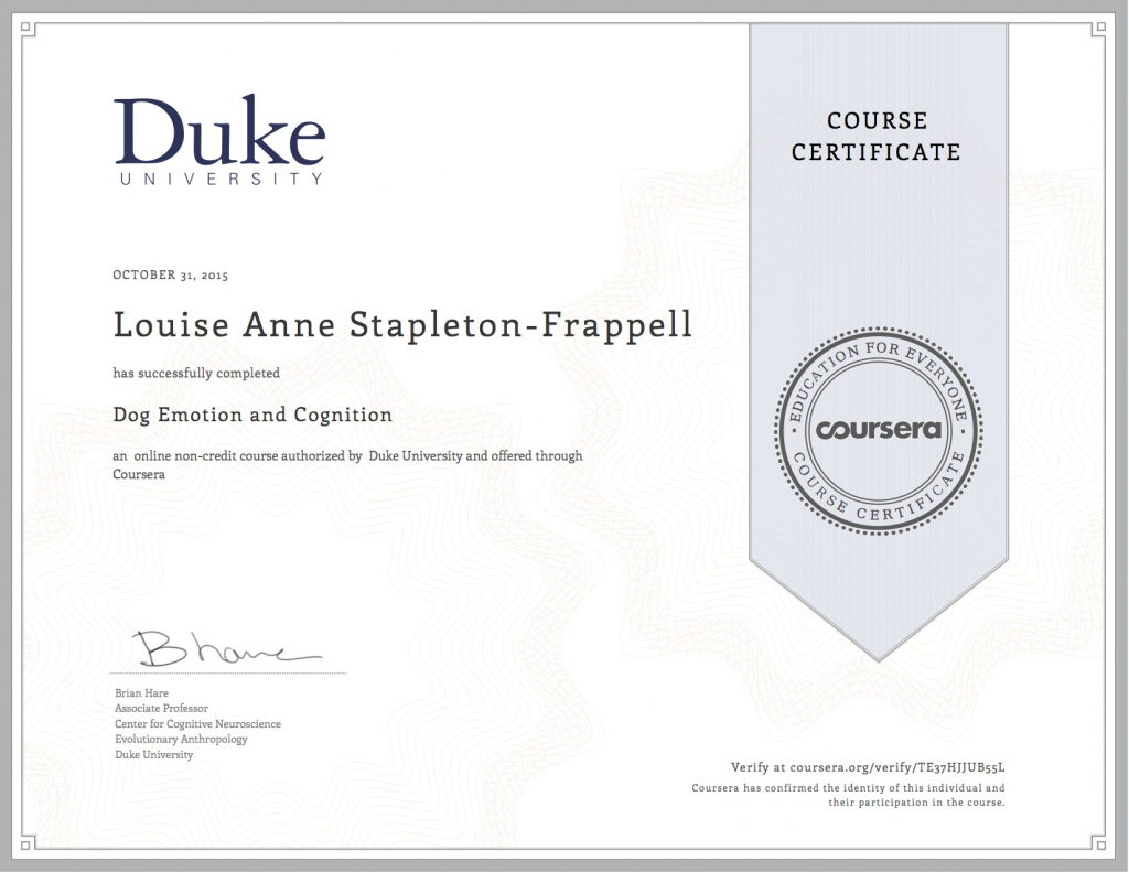 Dog Emotion and Cognition Verified Certification