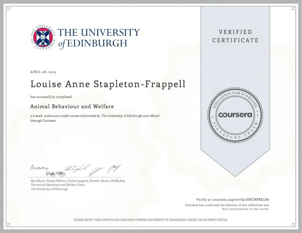 Animal Behaviour and Welfare Verified Certification